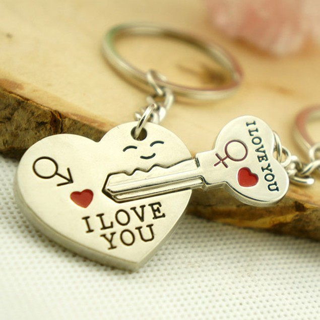 Love You 2 Piece Couple's Keychain Set