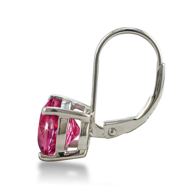 5ct Round Pink Sapphire Leverback Earrings in Sterling Silver