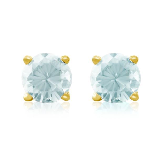 1/2 Carat Aquamarine Stud Earrings in 14k Yellow Gold