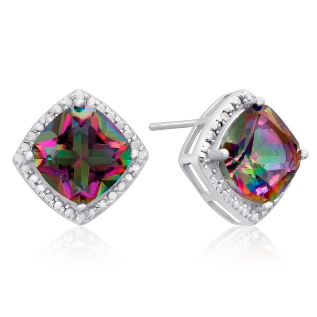 3 3/4 Ct Rainbow Amethyst and Diamond Earrings
