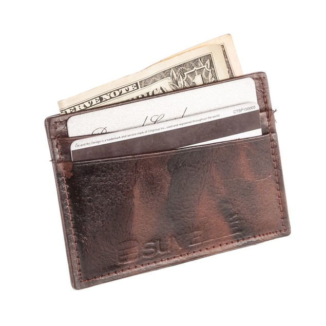 Suvelle Genuine Leather Credit Card Holder, Slim Business Card Case Wallet