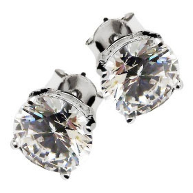 Sterling Silver 8mm Rounded Cubic Zirconia Stud Earrings