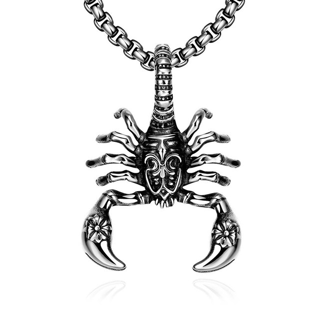 Alpha Steel Stainless Steel Scorpion Emblem Necklace
