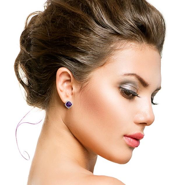 3 3/4 Ct Amethyst and Diamond Earrings