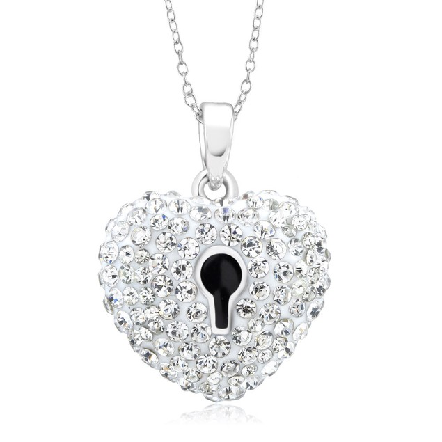 Designer Inspired Crystal Heart Lock Necklace