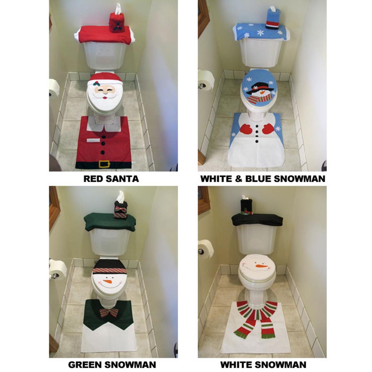 Fantastic 4 Piece Santa Or Snowman Bathroom Toilet Seat Cover Rug Cjindustries Chair Design For Home Cjindustriesco