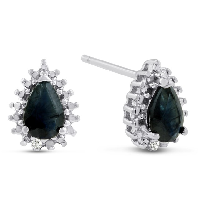 1 Carat Pear Shape Sapphire and Diamond Halo Stud Earrings