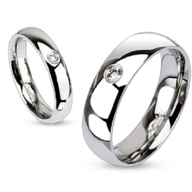 Single CZ Classic Band Stainless Steel Ring