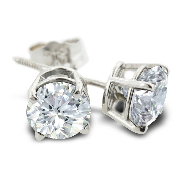 Certified 1/2ct Natural Genuine Diamond Stud Earrings In 14 Karat White Gold