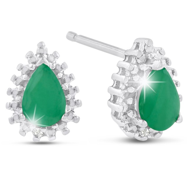 1 Carat Pear Shape Emerald and Diamond Halo Stud Earrings In Sterling Silver