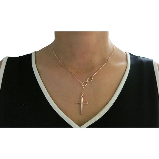 Sterling Silver .925 Infinity Cross Necklace