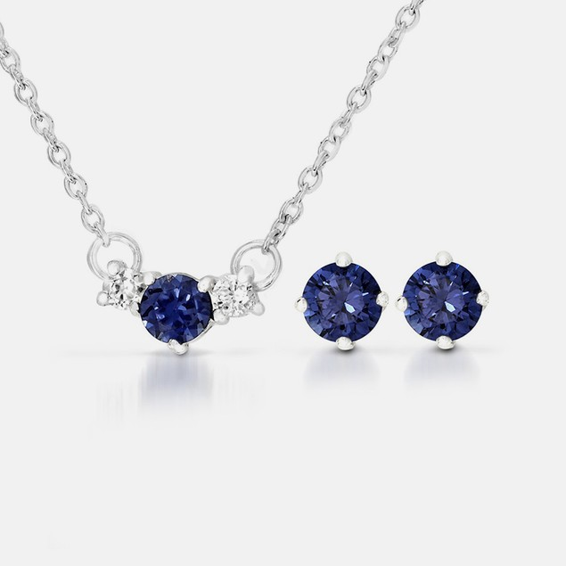2-Piece Blue Sapphire & CZ Earrings & Pendant Set