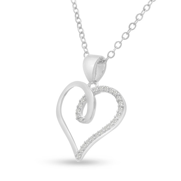 1/10ct Swirly Diamond Heart Pendant