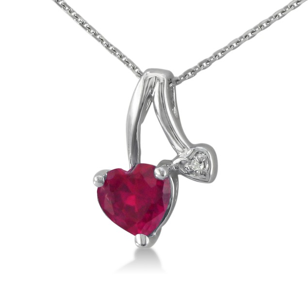 Heart Shaped Ruby and Diamond Pendant
