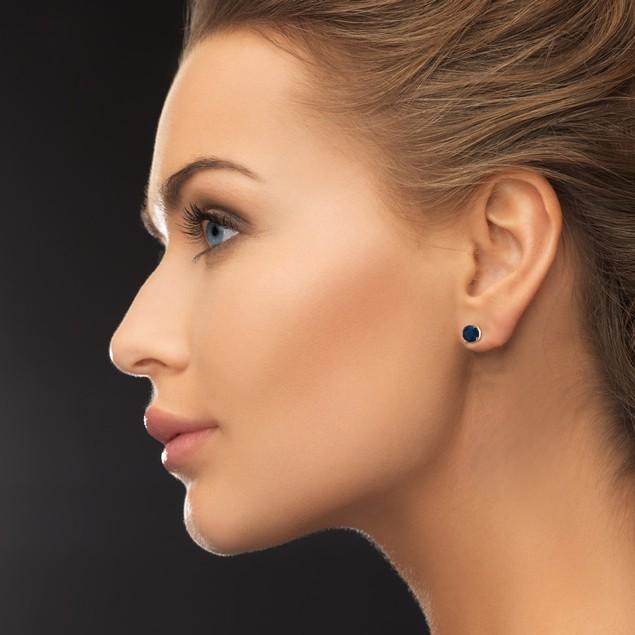 1/2 Carat Sapphire Stud Earrings in 14k Yellow Gold