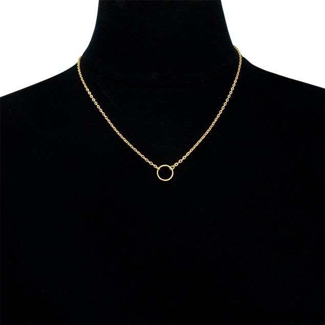 Gold Plated Small Circle Pendant Necklace
