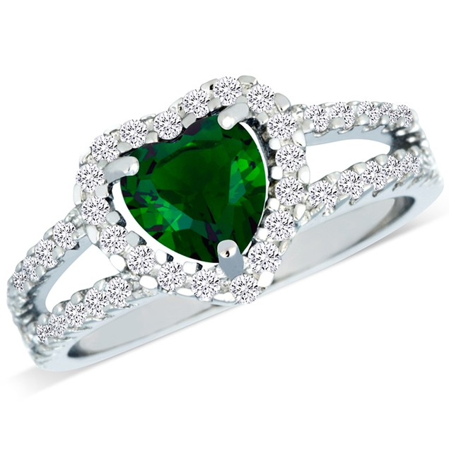 Sterling Silver Simulated Emerald Heart Shaped Ring