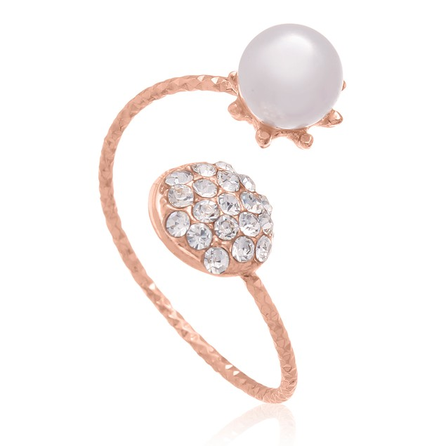Imitation Pearl and Pave Crystal Wrap Ring In Rose Tone