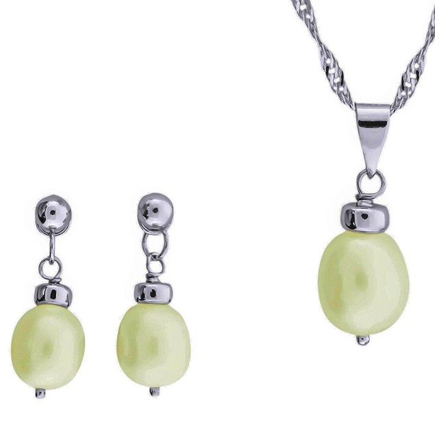Genuine Freshwater Cultured White Pearl Set