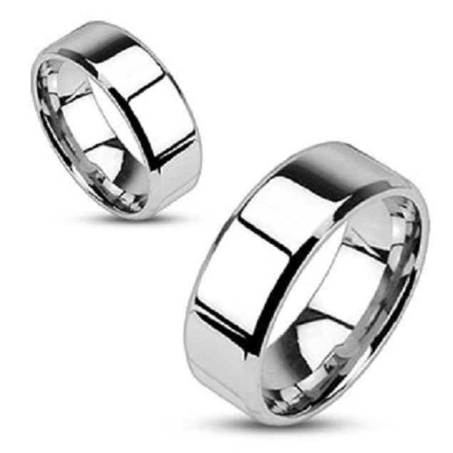 Mirror Polished Flat Band with Beveled Edge Stainless Steel Ring