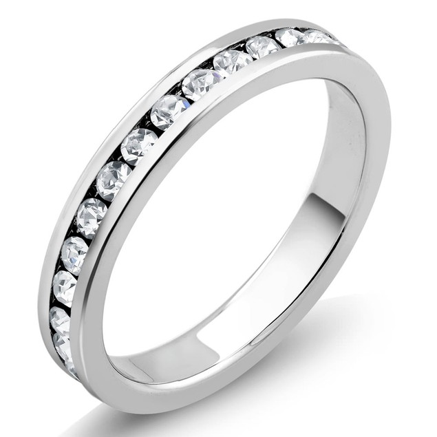 18k Plated Band & 2cttw Simulated Diamond Studs