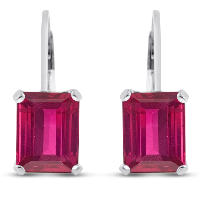 4 1/2 Carat Emerald Shape Created Ruby Leverback Earrings In Sterling Silver