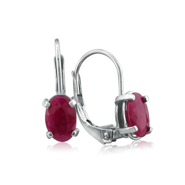 1 1/4ct Oval Ruby Earrings in Sterling Silver