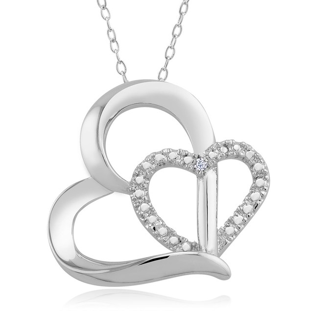 .10 Ct Diamond Accent Necklace - Double Heart