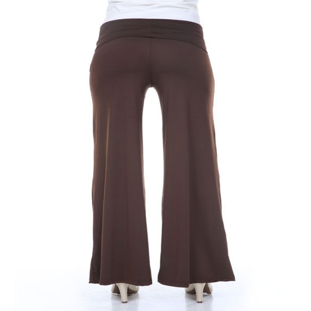 White Mark Brown Plus Size Palazzo Pants