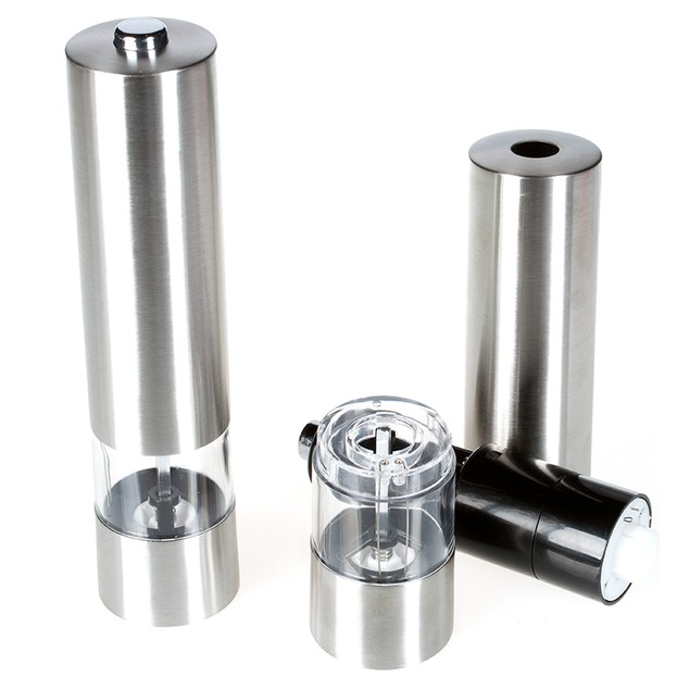 2-Pack Automatic Salt or Pepper Mill and Grinder