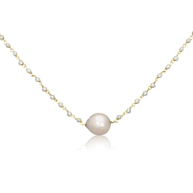Dainty Gold Plated Natural Pearl Strand Necklace - 18 inches