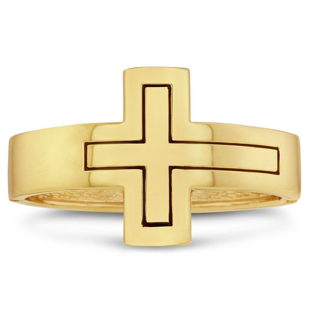 Gold Sideways Cross Bangle Bracelet