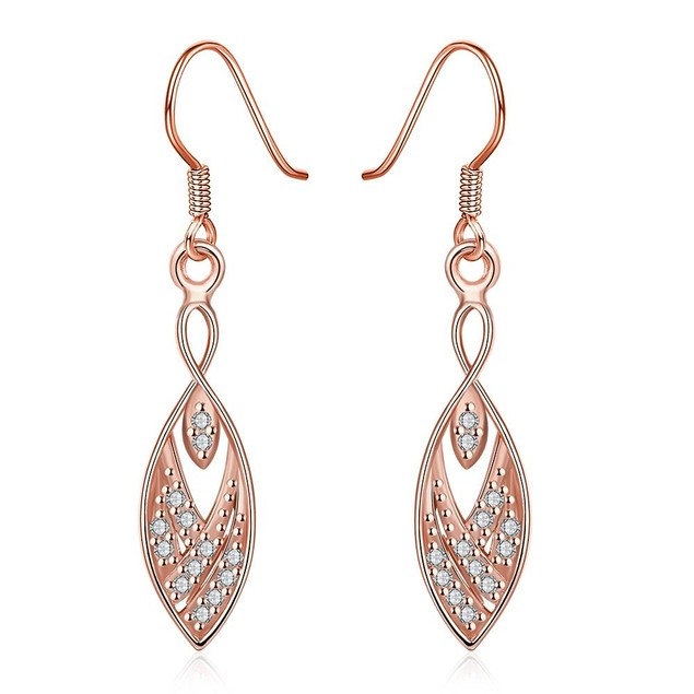 Rose Gold Plated Tree Branch Inspired Drop Down Earrings