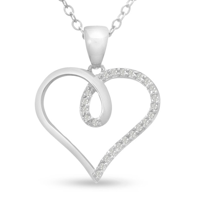 1/10ct Swirly Diamond Heart Pendant