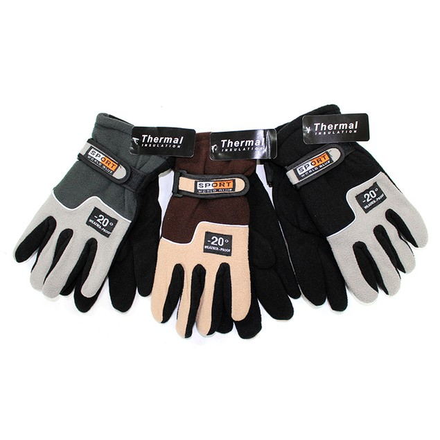 3 Pairs: Men's Thermal Insulated Fleece Gloves w/ Velcro Closure