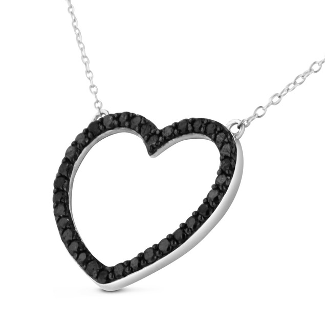 1ct Black Diamond Heart Necklace in Sterling Silver