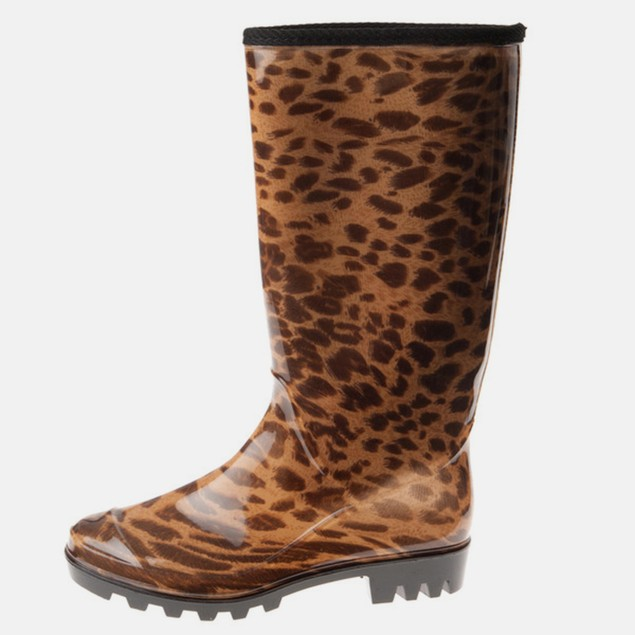 Animal Leopard Print Waterproof Pull On Boots