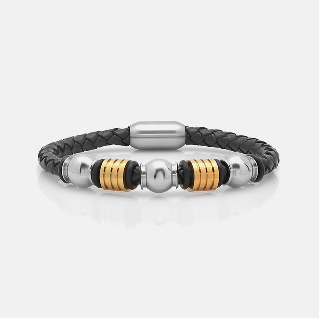 Braider leather bracelet with Stainless steel touch