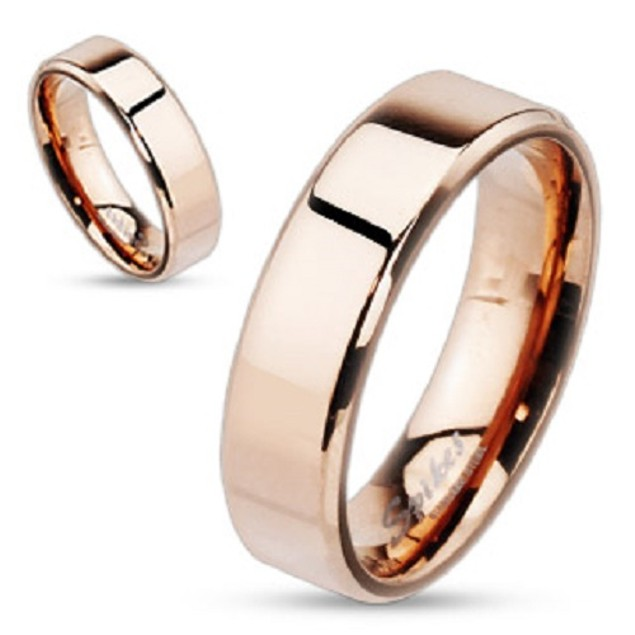 Beveled Rose Gold IP Over Stainless Steel Ring