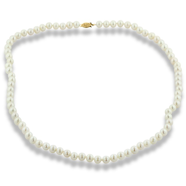 14k White Gold Clasp AA Hand Knotted Pearl Necklace - 7mm