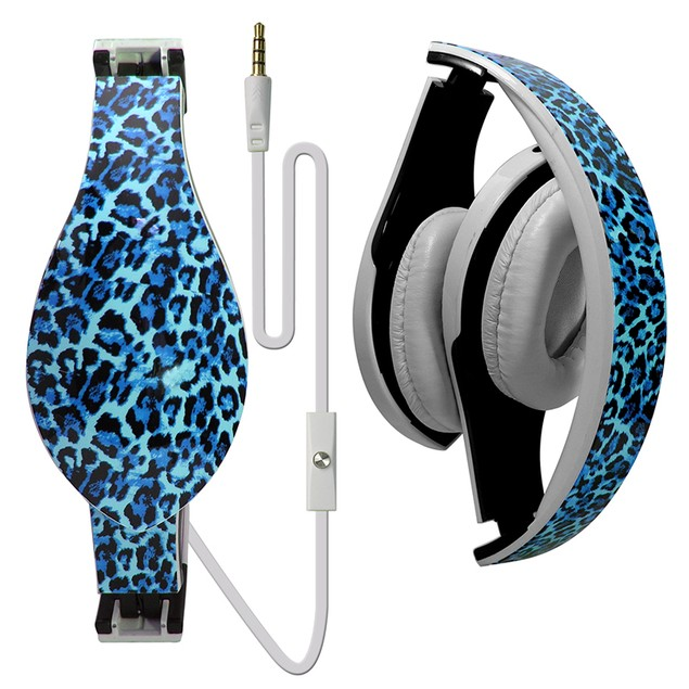 Printed Foldable DJ Style Headset w/ Inline Mic