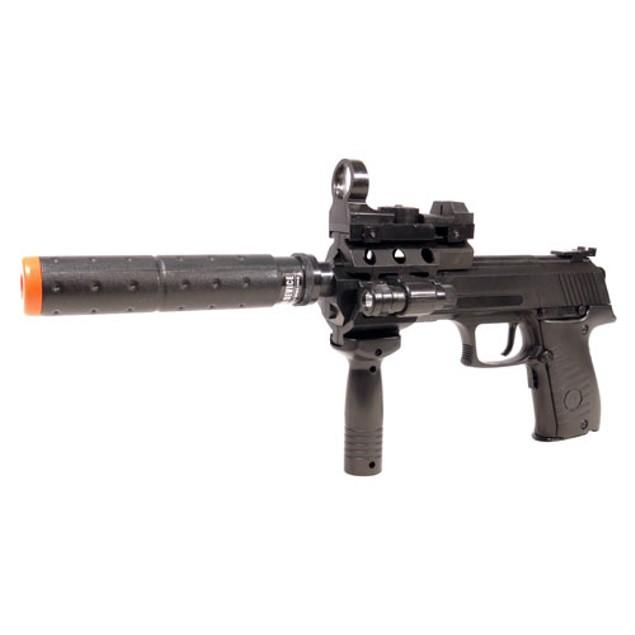 Electric Full Auto Tactical 2030A Pistol FPS-150 Blowback, Barrel Extender, Flashlight, Red Dot Scope Airsoft Gun