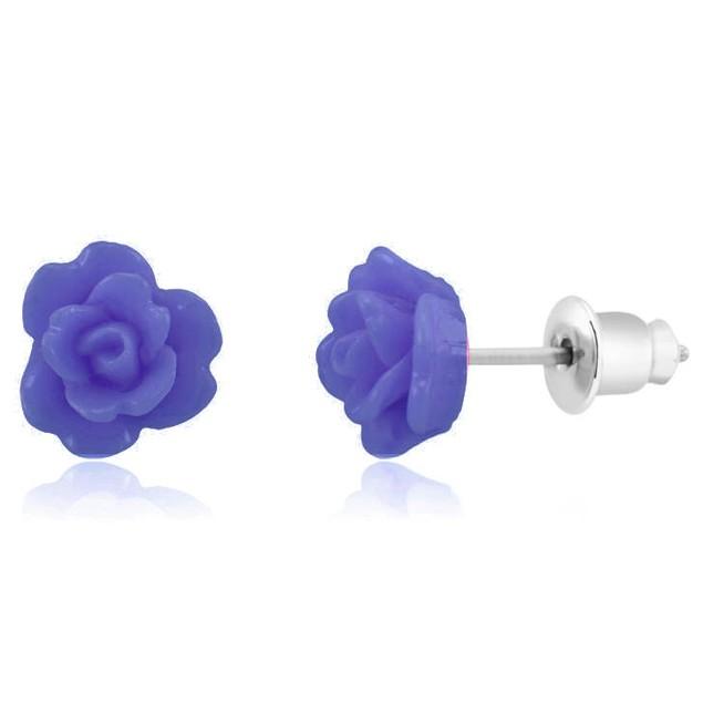 18kt White Gold Enamel Rose Earrings