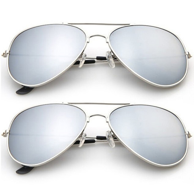 2-Pack: Designer-Inspired Mirrored Aviators