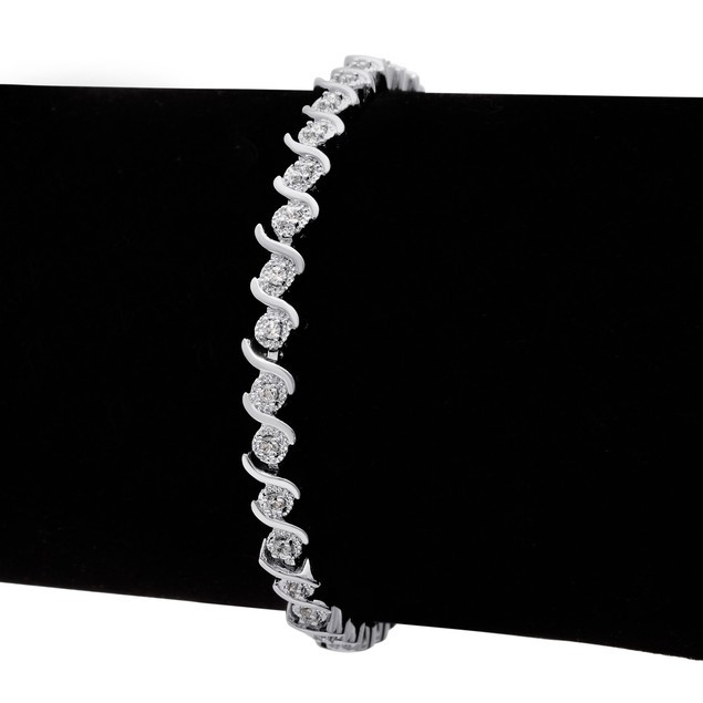 Diamond S-Type Tennis Bracelet 0.36cttw