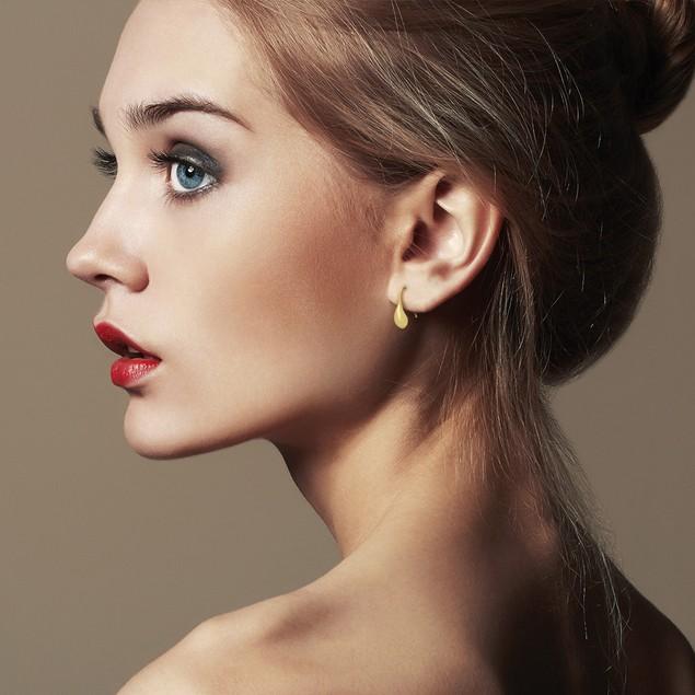 Gold Tone Teardrop Earrings, 1/2 Inch