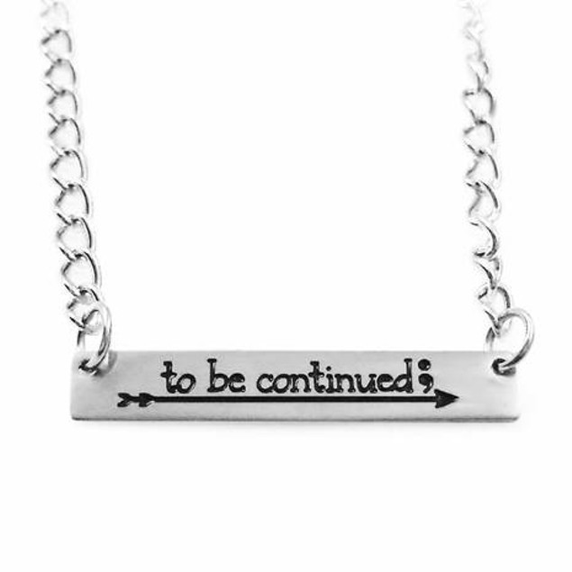 To Be Continued Semicolon Arrow Necklace Bellechic