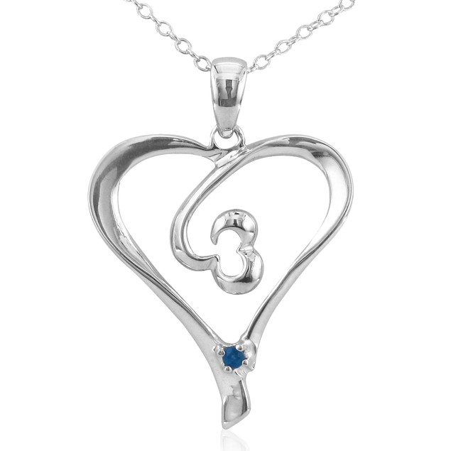.05ct Sapphire Heart Pendant in Sterling Silver