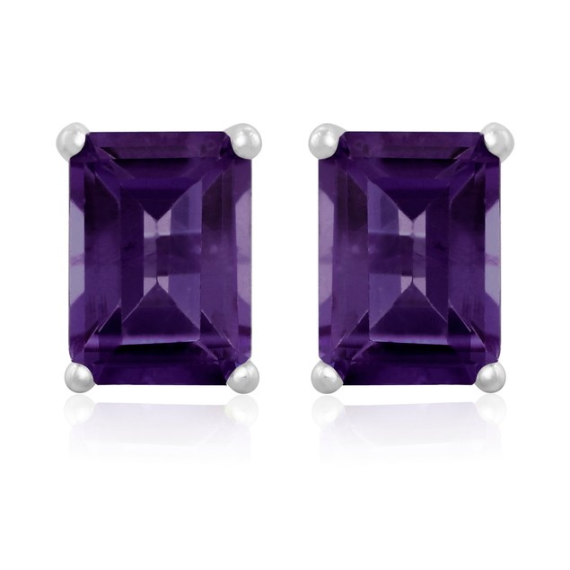 3ct Emerald Cut Amethyst Earrings In Sterling Silver