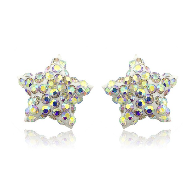 Sterling Silver Sparkling Crystal 10mm Stud Earrings - Star Rainbow